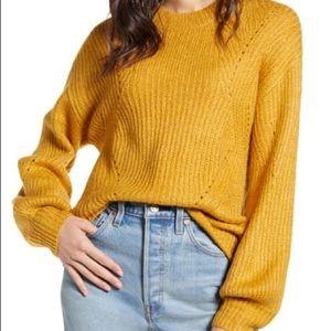 BP chunky pointelle sweater mustard yellow gold